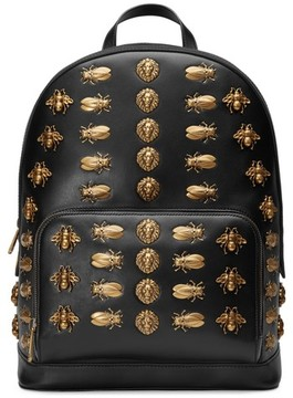 Gucci Animal Studs Leather Backpack - Black - BLACK - STYLE