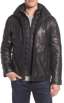 Andrew Marc Men's Leather Jacket With Quilted Insert