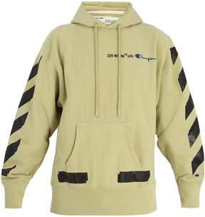 Off-White X Champion hooded cotton-blend sweatshirt