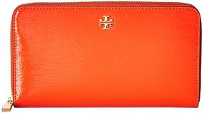 Tory Burch Robinson Patent Zip Continental Wallet Bill-fold Wallet - SPICY ORANGE - STYLE