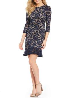 B. Darlin Lace Flounce Hem Sheath Dress
