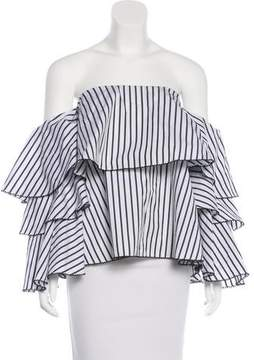 Caroline Constas Off-The-Shoulder Striped Top