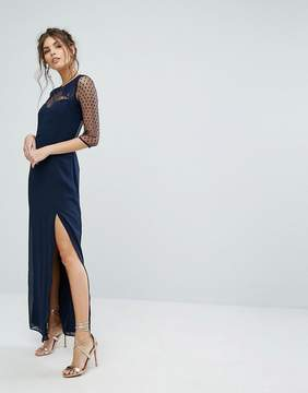 Elise Ryan Maxi Dress With Polka Mesh And Eyelash Lace Upper