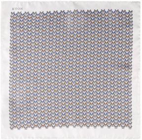 Eton Bulldog Print Silk Pocket Square