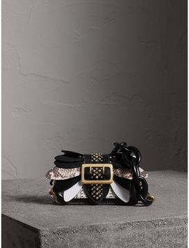 Burberry The Small Buckle Bag in Leather and Snakeskin Appliqué - BLACK/WHITE - STYLE