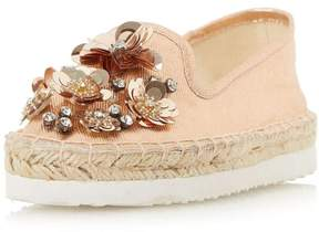 Head Over Heels *Head Over Heels by Dune Rose Gold 'Enista' Flat Shoes
