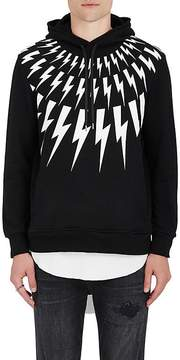 Neil Barrett Men's Lightning Bolt-Print Cotton Terry Hoodie