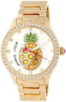 Betsey Johnson Women's Playful Pineapple Crystal Bracelet Watch