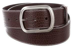 Salvatore Ferragamo Silver-Tone Pebbled Leather Belt