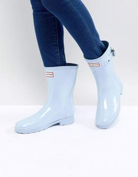 Hunter Refined Short Gloss Wellington Boots in Pale Blue