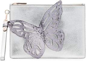Sophia Webster silver Flossy Butterfly leather clutch