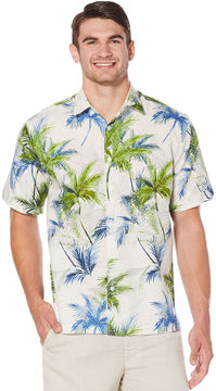 Cubavera Geo Textured Palm All Over Printed Shirt