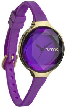 RumbaTime Orchard Mini Goldtone Amethyst-Colored Crystal and Silicone Strap Watch