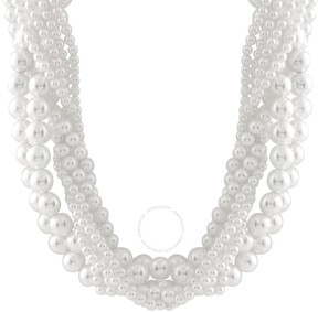 Bella Pearl Multi-Row White Shell Pearl Braided Necklace