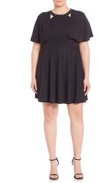 ABS by Allen Schwartz Women's Studded Cape Overlay Dress - Black, Size 0x (10-12)