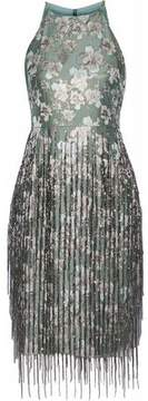 Badgley Mischka Fringed Bead-Embellished Brocade Dress