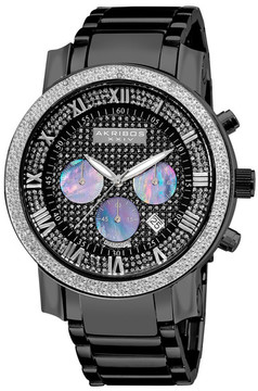 Akribos XXIV Men's Quartz Chronograph Diamond Bracelet Watch - 0.06 ctw