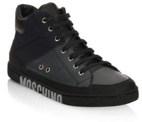 Moschino Lace-Up Mid Top Sneakers