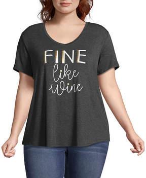 Boutique + + Short Sleeve V Neck Graphic T-Shirt - Plus