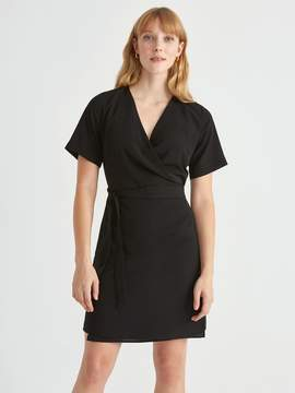 Frank and Oak Short Sleeve Wrap Dress in True Black