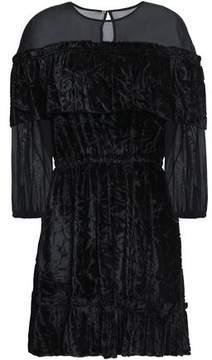 Rachel Zoe Chiffon-Paneled Devoré-Velvet Mini Dress