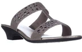 Karen Scott Ks35 Eddina Studded Slide Sandals, Pewter.