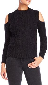 Cliche Cold Shoulder Cable Knit Sweater