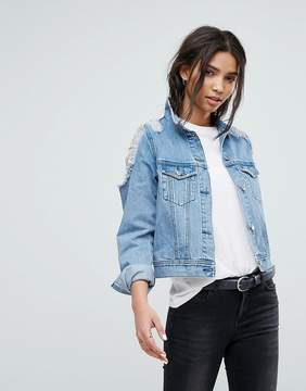 Dr. Denim Denim Jacket with Ripped Shoulder Detail