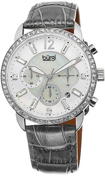 Burgi Crystal Chronograph Grey Leather Mother of Pearl Dial Ladies Watch