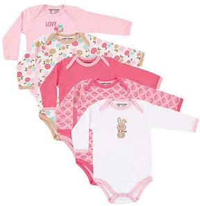 Luvable Friends Pink & White Bunny Bodysuit Set - Infant