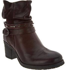 Miz Mooz As Is Leather Block Heel Ankle Boots - Serenity