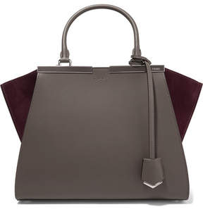 Fendi 3jours Suede-paneled Leather Tote - Dark gray