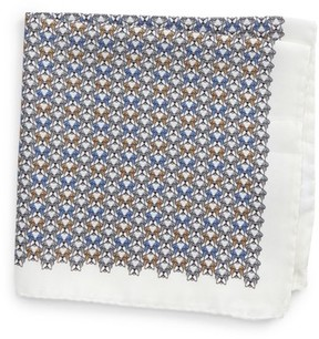 Eton Men's Geometric Dog Silk Pocket Square