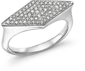 Adina Sterling Silver Pavé Diamond Stretched Diamond Signet Ring