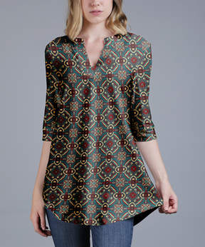 Azalea Green & Gray Arabesque V-Neck Tunic - Plus
