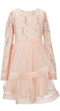 Xtraordinary Big Girls 7-16 Sequin/Sheer-Overlay Fit-And-Flare Dress