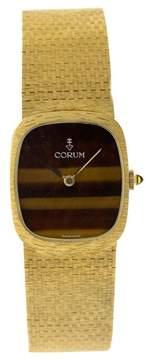 Corum COR1 18K Yellow Gold Tigers Eye Dial Vintage Mens Watch