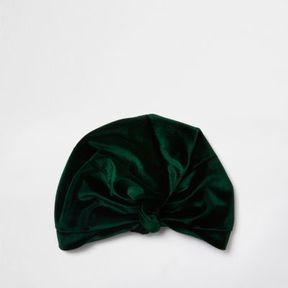 River Island Womens Green velvet knot front turban hat