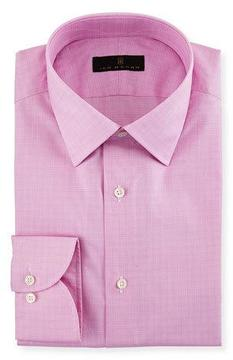 Ike Behar Gold Label Micro-Glen Plaid Dress Shirt, Bright Pink
