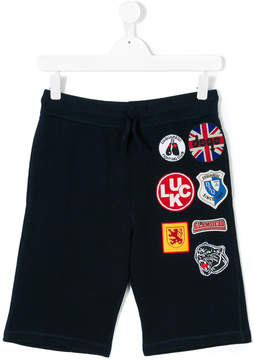 DSQUARED2 Teen multipatches drawstring shorts