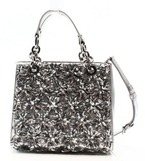 Michael Kors Silver Floral Burst Leather Small Satchel Bag Purse - SILVERS - STYLE
