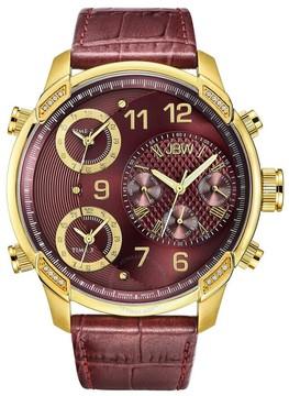 JBW G4 Red Dial Three Time Zone Diamond Men's Watch