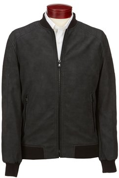 Murano Distressed Faux Leather Bomber Jacket