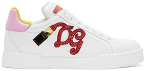 Dolce & Gabbana White Lipstick Sneakers