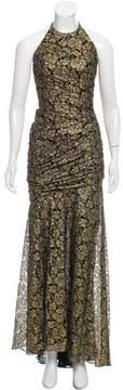 Carmen Marc Valvo Metallic Evening Dress