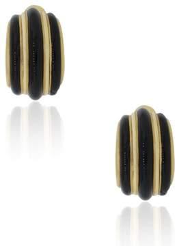 David Webb 18K Yellow Gold Onyx Earrings