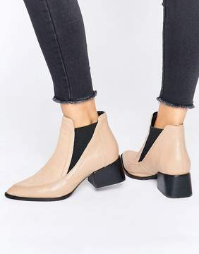 Sol Sana Rico Nude Pony Leather Heeled Ankle Boots