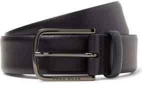 HUGO BOSS 3.5cm Navy Seraf Cross-Grain Leather Belt
