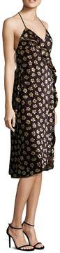 ABS by Allen Schwartz Women's Floral-Print Velvet Wrap Dress