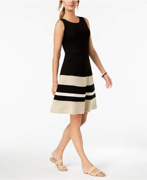 Charter Club Colorblocked Fit & Flare Dress, Created for Macy's